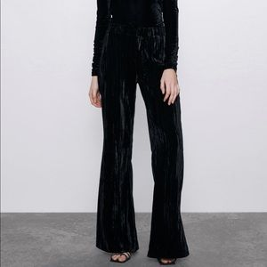 ZARA Velvet Flared Leg Pants